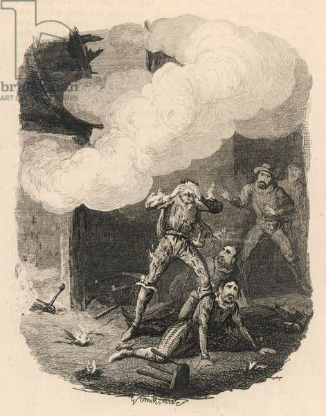 Explosion at Holbeach, 1841 (engraving)