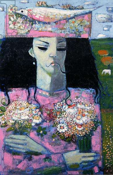 Two Bouquets, 1990 (oil on canvas board)