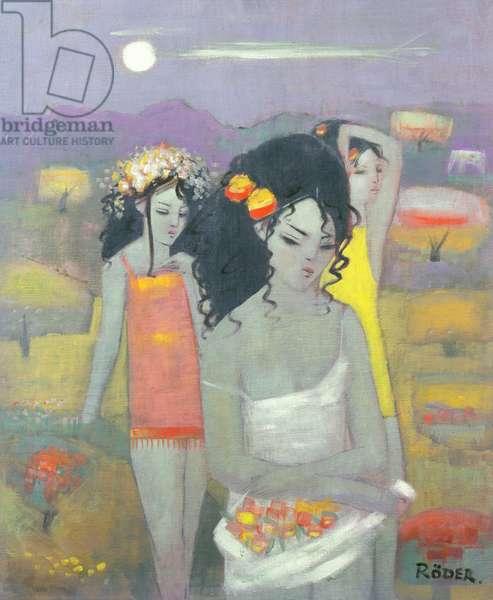 Gathering Flowers, 1995 (oil on board)
