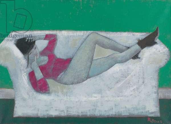 Karen on the Settee (oil on canvas)