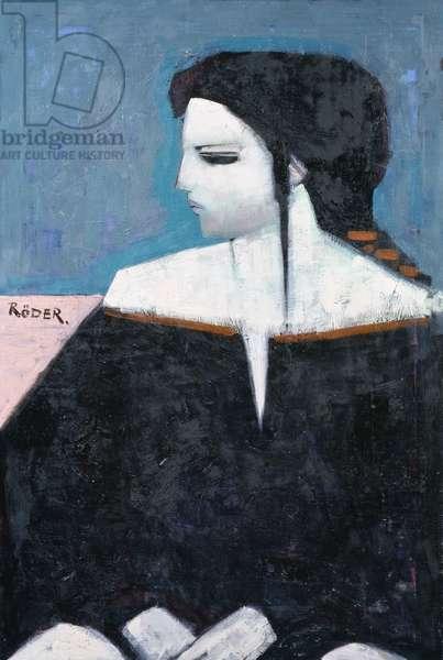 Antoinette in Black, 1992 (oil on board)