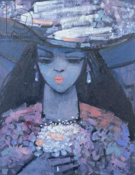 Edwina's Hat, 1991 (oil on canvas board)