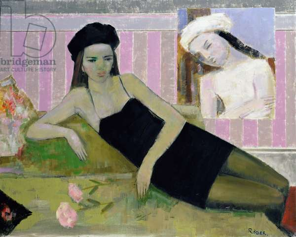 Antoinette and a detail from Balthus, 1994 (oil on canvas)