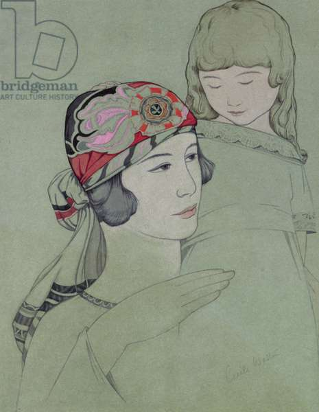 Mother and Child, c.1925 (gouache on tinted paper)