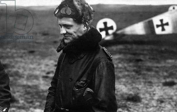 "Manfred von Richthofen (1892-1918) named ""the Red Baron"", German pilot during ww1 (b/w photo)"