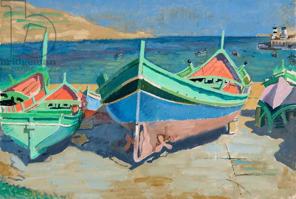 Boats at Mgarr against a dark sea, (oil on paper)