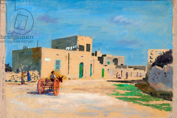 Red Wheeled Cart Gozo Village, (oil on paper)