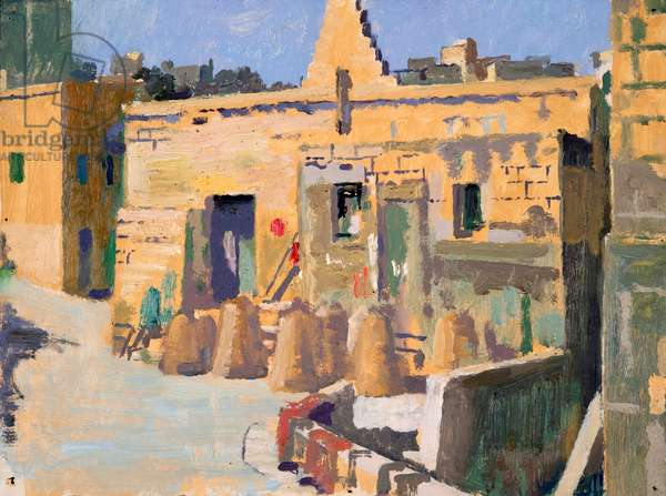 Mgarr, fishing pots, (oil on paper)