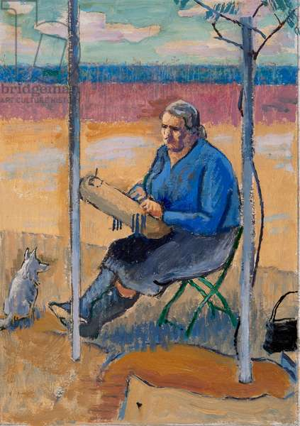Lace Maker and Dog, (oil on paper)