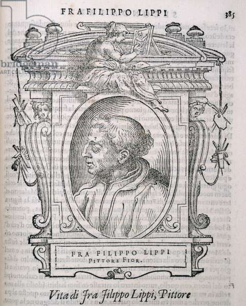 Portrait of Fra Filippo Lippi (c.1406-69) from Vasari's 'Lives of the Artists', first published 1550 (engraving)