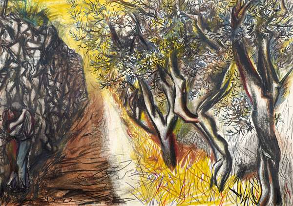 Landscape with Lovers (pastel on paper)