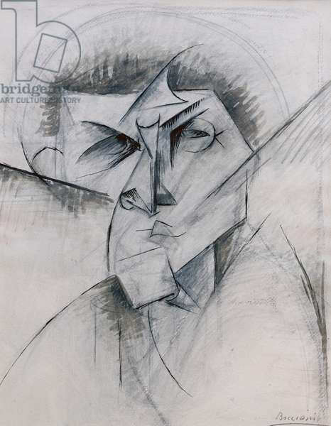 Study for Empty and Full Abstracts of a Head, 1912 (pen & ink, black wash and pencil on paper)