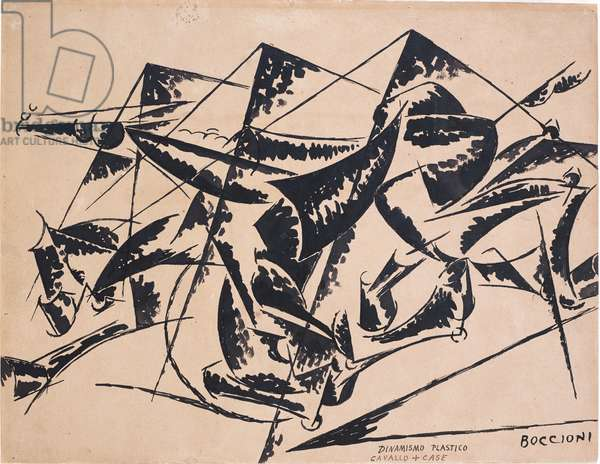 Plastic Dynamism: Horse and Houses, 1914 (pen & ink on paper)