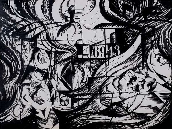 Drawing after States of Mind: The Farewells, 1912 (ink and wash on paper)