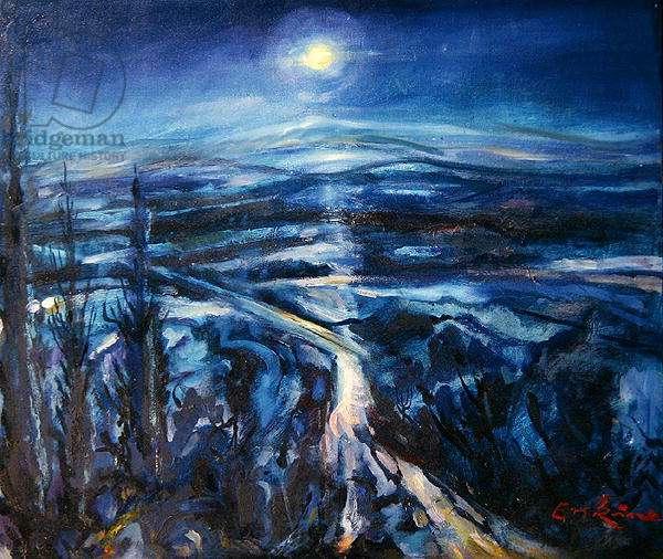Blue Moon, Lachania, Rhodes, Greece, 2000 (oil on canvas)