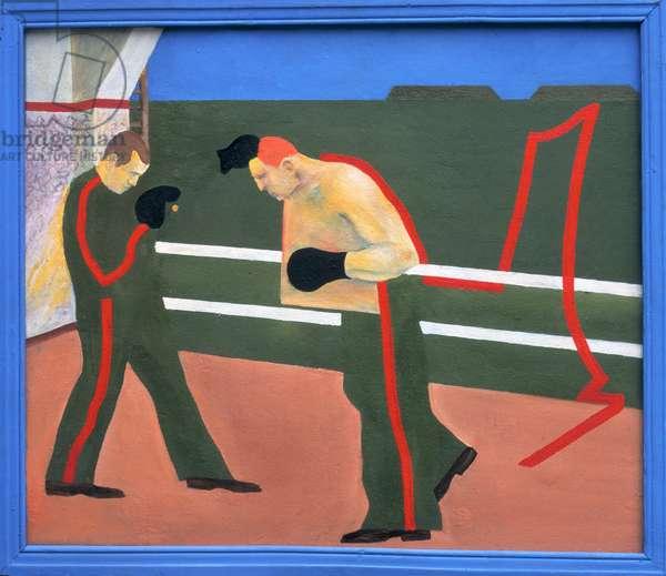Boxers, 1969 (oil on pressed-wood panel)