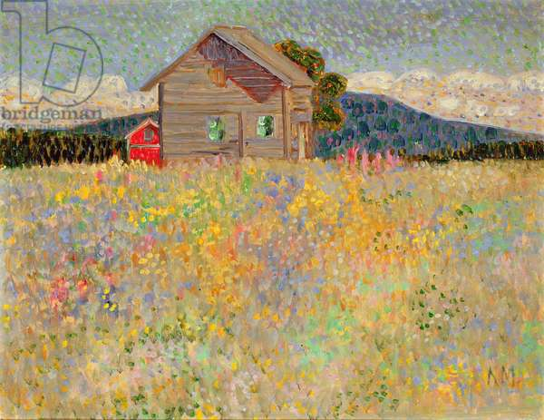 Small Wooden House in a Flowering Meadow, c.1909 (oil on paste board)