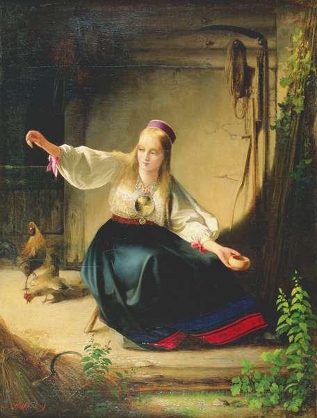 A Girl Feeding Hens, 1839 (oil on canvas)