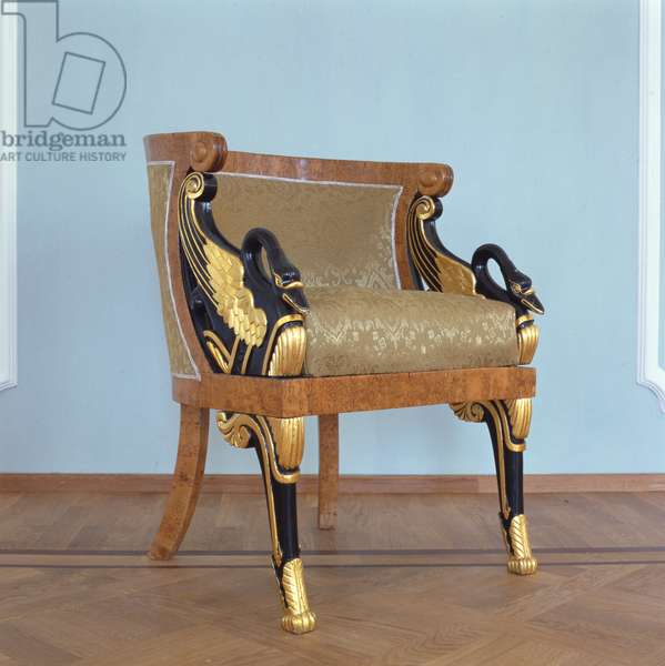 Armchair (gilded wood, chestnut veneer & textile)