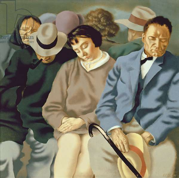 Travellers, 1929 (oil on plywood)