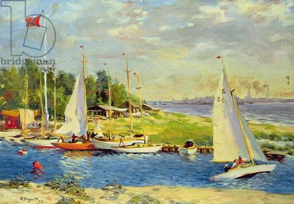 Pirita Yacht Club, 1952 (oil on pasteboard)