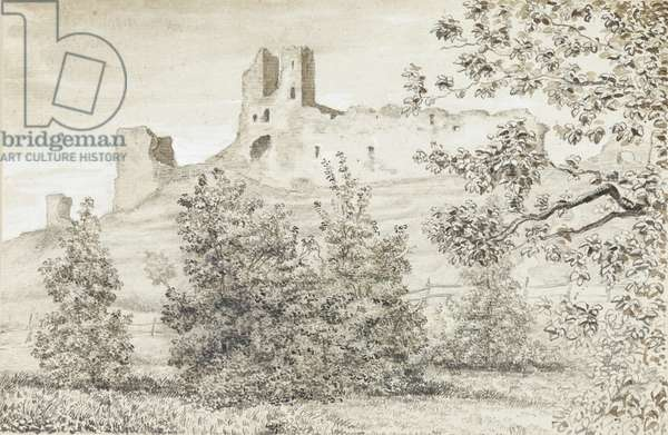 View of the Ruins of Rakvere Castle, 1828 (sepia & pencil on paper)