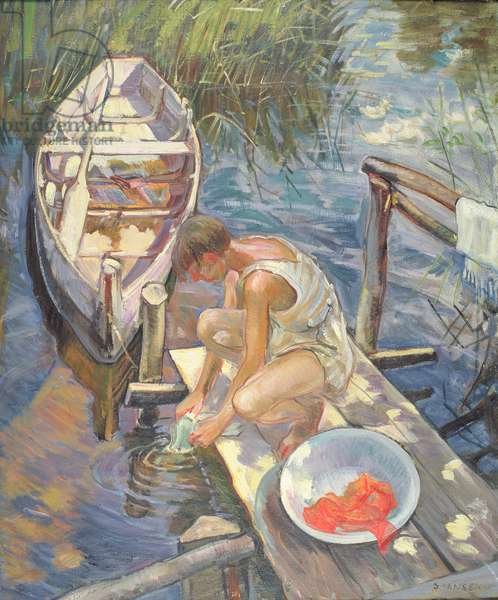 Washing Clothes in the River, 1936-39 (oil on canvas)