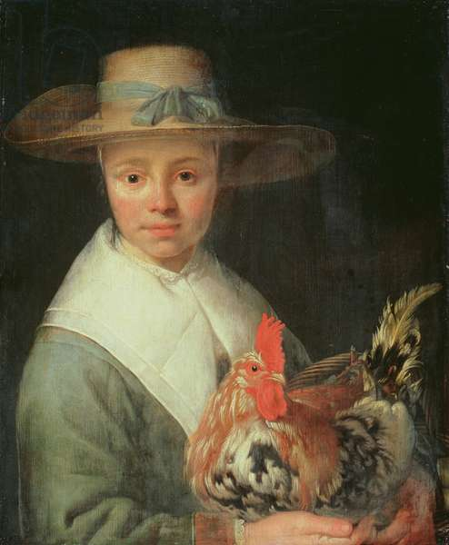 Girl with a Rooster (oil on panel)