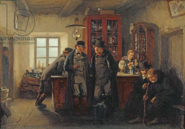 Peasants in the Pub (oil on canvas)