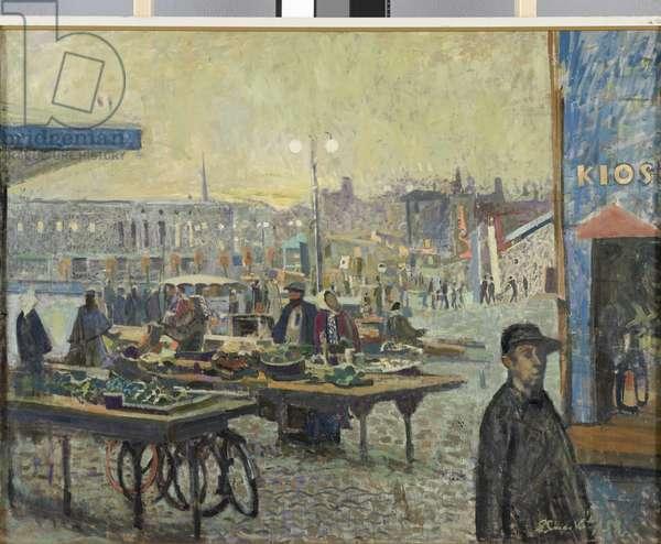 Market in Rakvere Town, 1958 (oil on canvas)