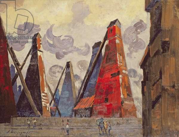 The Baku Oil Rigs, 1916 (oil on canvas)