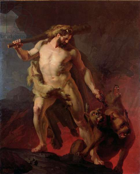 Hercules Removes Cerberus from the Gates of Hell, 1855 (oil on canvas)