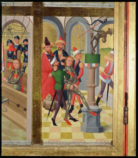 St. Victor of Marseilles knocking down the pagan idol, from the High Altar of St. Nicholas' Church, 1481 (oil on wood) (detail) (see 197689-92)