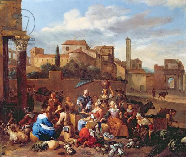 Vegetable Market in Italy (oil on canvas)