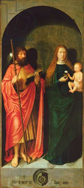 Madonna and Child with the Apostle James the Elder from the Left Hand Exterior Wing of St. Anthony's Altar, c.1517-18 (oil and tempera on panel)