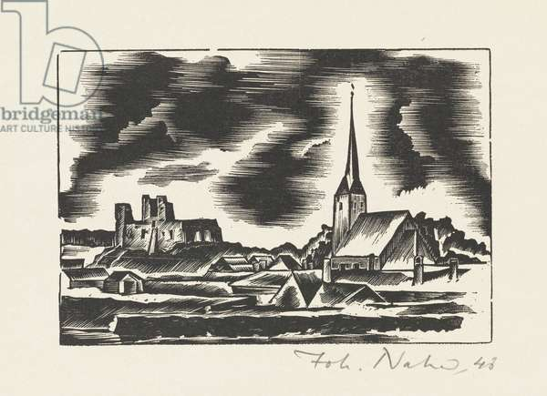 A General View to Rakvere, 1948 (woodcut)