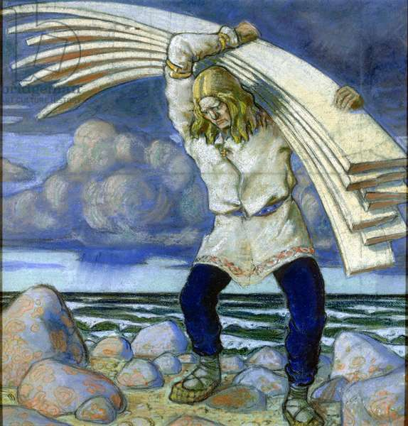 Kalevipoeg Carrying the Boards, 1914 (pastel on paper)