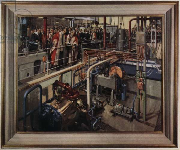The Duke of Edinburgh opening the Department of Engineering at the University of Cambridge (oil on canvas)