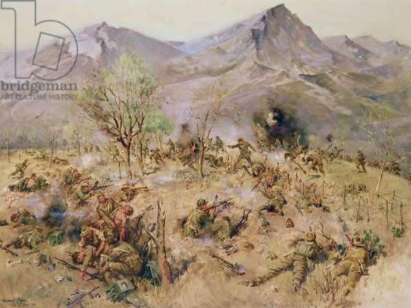 Kapyong Action, Korea, The Royal Australian Reg, (acrylic on canvas)
