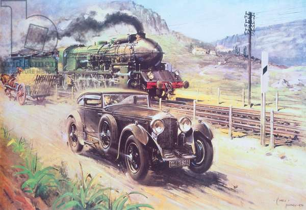 Bentley vs Blue Train, (acrylic on canvas)