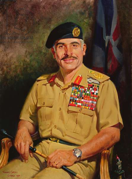 King Hussein of Jordan, 1980 (oil on canvas)