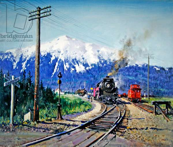 Steam in the Rockies, (acrylic on canvas)