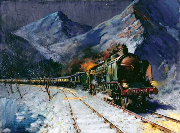 Simplon Orient Express by night, (acrylic on canvas)