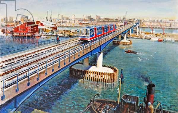 Docklands Light Railway, (acrylic on canvas)