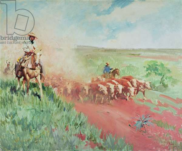 The Cattle Drive, 1960 (oil on canvas)