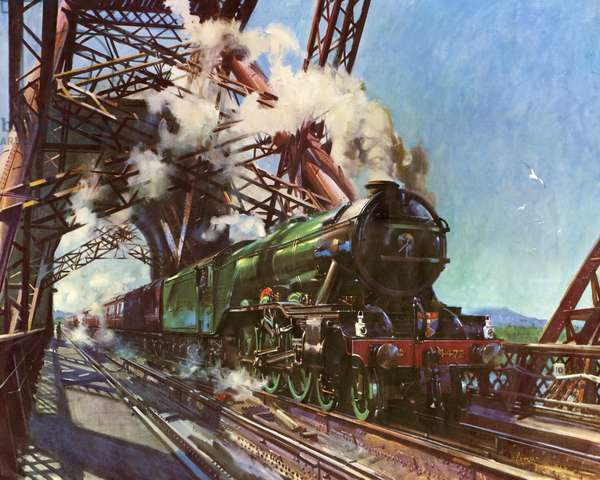 The Flying Scotsman, Number 4472 Crossing the Forth Bridge on May 16th 1964 (colour litho)