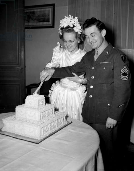 Second World War (1939-1945) - World War II (WWII or WW2): Versailles (France) December 16, 1944: After the blessing of his marriage in the Chapel of the Chateau and during the reception