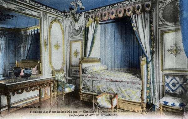 Postcard depicting the Bedroom of Francoise d'Aubigne, Marquise de Maintenon Chateau de Fontainebleau (colour litho)