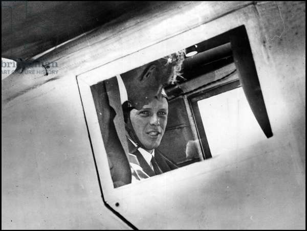 """Detroit, Michigan USA August 13, 1927: On his first flight, Henry Ford (1863-1947) with Colonel Charles Lindbergh (1902-1974) in the cockpit of the """"Spirit of St-Louis"""""""""""""""