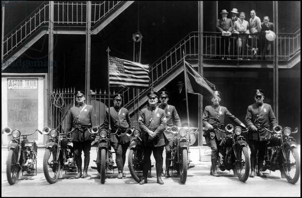 New York City (NY) USA June 15, 1927: Sergeant Cassidy and his group of police motorcyclists to escort Colonel Charles Lindbergh to the streets of the city